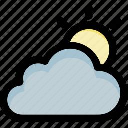 cloud, sun, sun beam, sunny cloud, weather icon