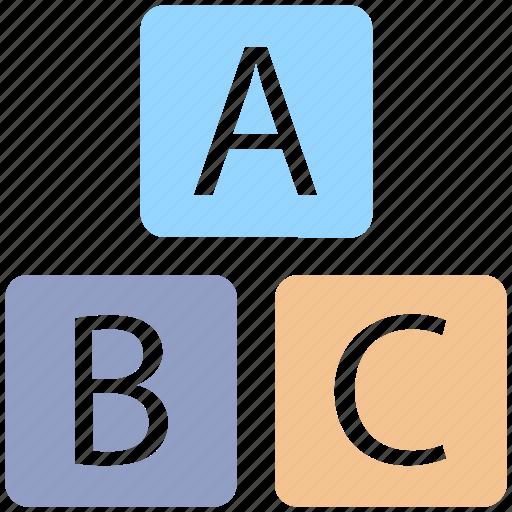 alphabet, baby, box, child, cube, education, infant, kid, kids, kindergarten, newborn icon