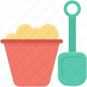 bucket, construction tool, shovel, spade, spade tool icon
