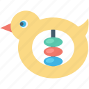baby toy, duck rattle, duck toy, music toy, toddlers toy icon