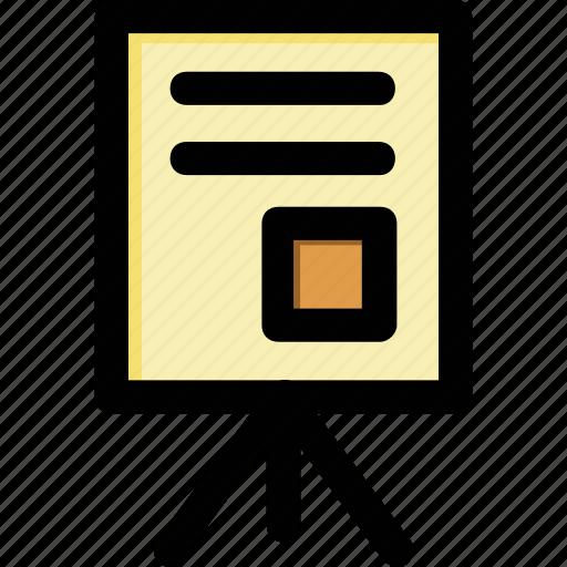 education, flip chart, presentation, teaching, training board icon