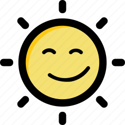 happy sun, holiday, smiling sun, sun face, sunlight icon