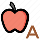 alphabet a, apple, kindergarten, nursery school, preschool icon