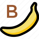 alphabet b, banana, kindergarten, nursery school, preschool icon