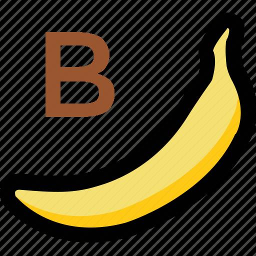alphabet b, banana, kindergarten, nursery school, preschool icon