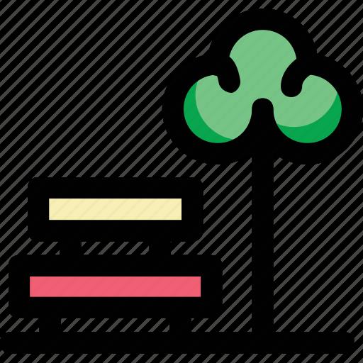 bench, garden, lawn, park, tree icon
