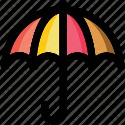 open umbrella, parasol, raining, sunshade, umbrella icon