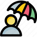 man, parasol, protection, shade, umbrella icon