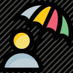 man, parasol, protection, shade, umbrella icon