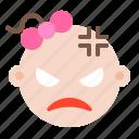 angry, baby, child, emoji, emoticon, emotion icon