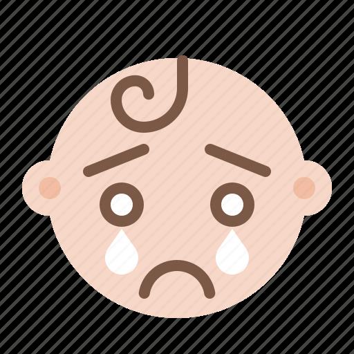 baby, child, cry, emoji, emoticon, emotion, sad icon