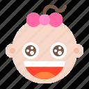 baby, child, emoji, emoticon, emotion, girl icon