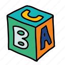 alphabet, baby, block, child, game, square, toy icon