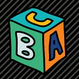 alphabet, baby, block, child, game, square, toy icon