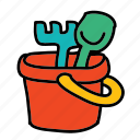 baby, bucket, child, dig, sandbox, tools icon