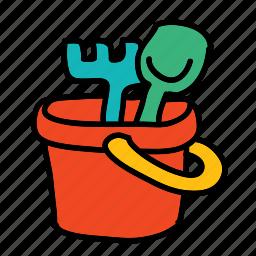 baby, bucket, child, dig, sandbox, tools icon