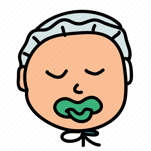 baby, cap, cute, pacifier, sleep icon