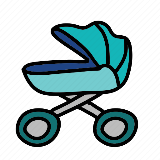 baby, carriage, park, picnic, sleep, stroller, walk icon