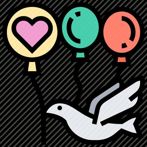 balloons, bird, congratulation, greeting, party icon