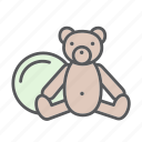baby, ball, bebe, fun, kid, play, teddy bear, toy icon