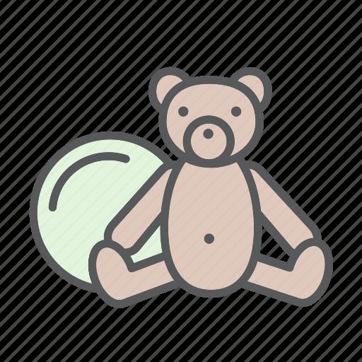 baby, ball, bebe, fun, kid, play, teddy bear, toy icon