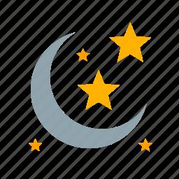 cartoon, cloud, cute, light, moon, rainbow, star icon