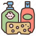 baby, bath, sets, shampoo, soap icon