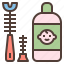 bottle, brushes, clean, hygiene, set icon