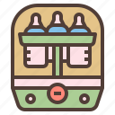 baby, bottle, clean, milk, sterilize icon