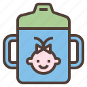 baby, bottle, cup, hygience, training icon