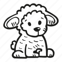 animal, baby, baby shower, party, pregnancy, sheep, stuffed icon