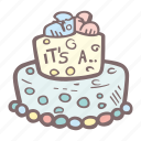 baby, baby shower, cake, gender reveal, mother-to-be, party, pregnancy icon