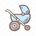 baby, baby shower, full, mother-to-be, party, pregnancy, stroller icon