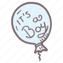 baby, baby shower, baloon, it's a boy, mother-to-be, party, pregnancy icon