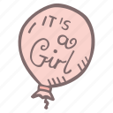 baby, baby shower, baloon, it's a girl, mother-to-be, party, pregnancy icon