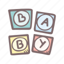 baby, baby shower, block, letter, party, pregnancy, toy icon