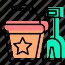 baby stuff, beach, buckets, child, sand, shovels, toy icon
