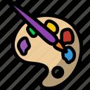 line, outline, brush, paint, toy, palette, art