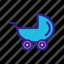 baby, boy, child, childhood, contour, stroller icon