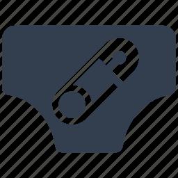 baby, nappies, pin, safety pin icon