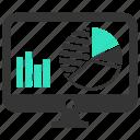 analytics, chart, monitoring, report, sales, screen, statistics icon
