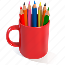 back to school, mug, pencils, red, school icon