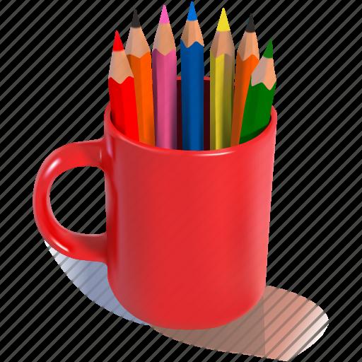back to school, mug, pencils, red, school icon