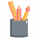 back to school, education, equipment, pen, pencil, ruler, school icon