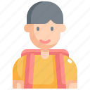 back to school, boy, education, equipment, learning, school, student icon