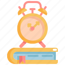 book, clock, library, schedule, time, watch icon