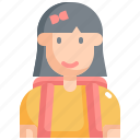 back to school, education, equipment, girl, learning, school, student icon