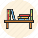 books, bookshelf, education, study icon