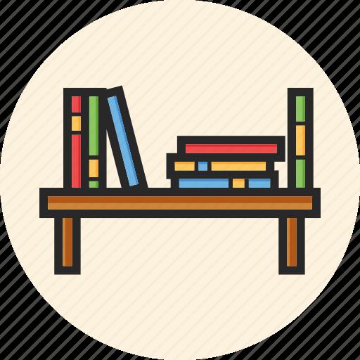 books, bookshelf, education, study icon