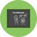 back to school, blackboard, classwork, study icon